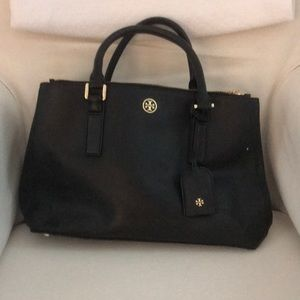 Tory Burch Double Zip Robinson Tote in Black